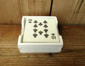 Poháralátét kártya mintás fehér1200223 (2)